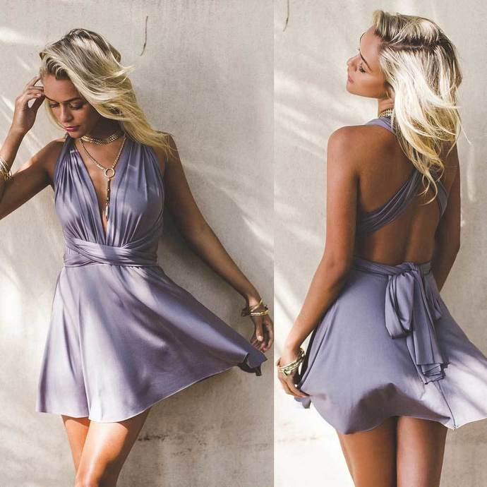 Charming A-Line V-Neck Backless Light Purple Short Homecoming Party Dress S2650