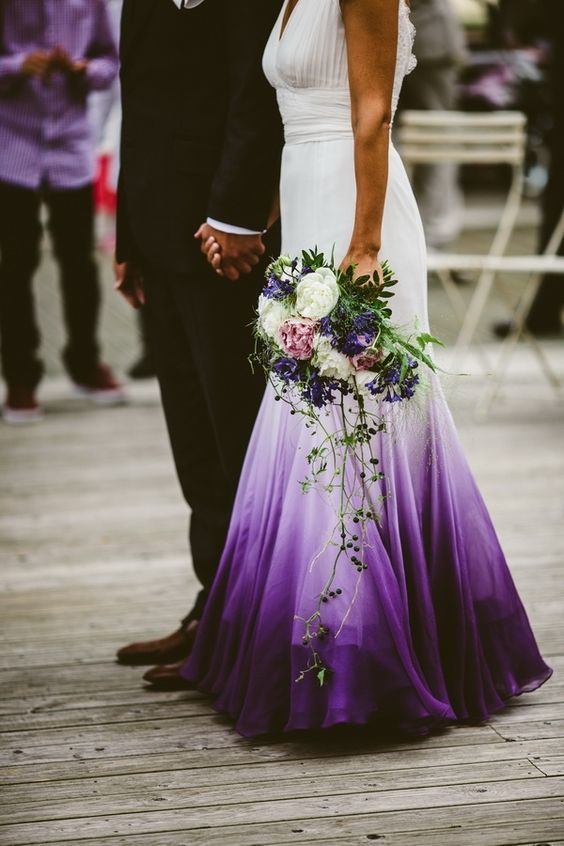 Mermaid Chiffon Purple Beach Wedding Dresses Ruched Lace Accents Bridal Gowns