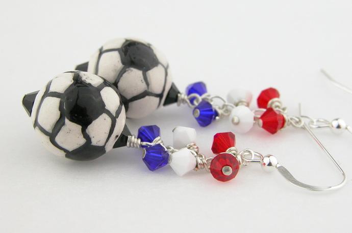 Red White Blue Soccer Earrings - handmade sterling silver dangle soccer ball usa