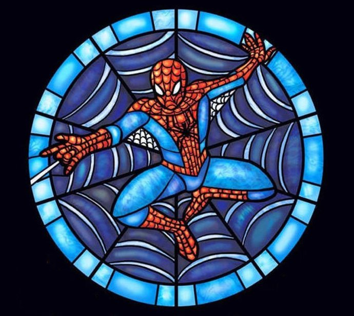 Stained Glass Spiderman Cross Stitch Pattern***LOOK***X***INSTANT DOWNLOAD***