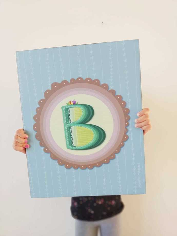 The letter B - Printed illustration on wood with lamination
