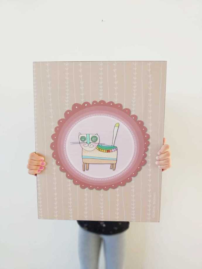 Printed illustration on wood with lamination -The CAT