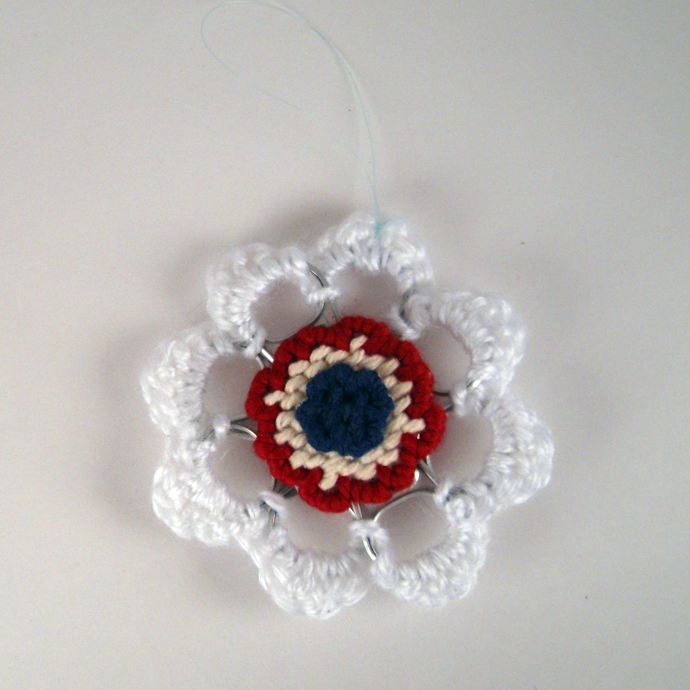 Red White Blue Can Tab Christmas Ornament