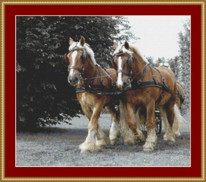 Draft Horses Cross Stitch Pattern - Instant Digital Downloadable Pattern