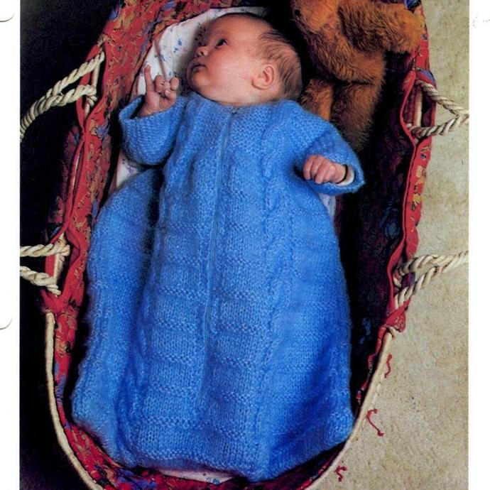 Instant, PDF, digital, download, vintage, knitting, pattern, baby, sleeping bag,