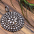 925 Sterling Silver White Topaz 35 MM  Round  Delicate Pave Pendant Jewelry