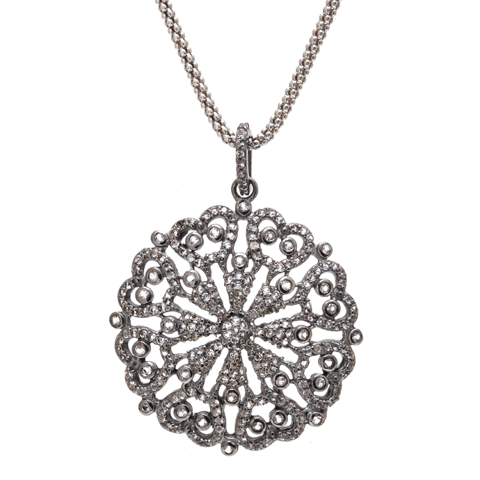 925 Sterling Silver White Topaz Delicate Pave 30 mm Round Pendant Jewelry