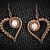 Pendant and Earrings Set; Copper Wire Wrapped and Woven Heart; Rose Quartz