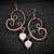 Earrings; Copper Earrings; Wire Wrapped with Rose Quartz Heart Beads (E102)