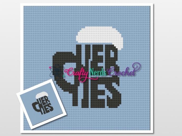 Large Cheers Mug Cal Block Pattern Graph With Single Crochet Written