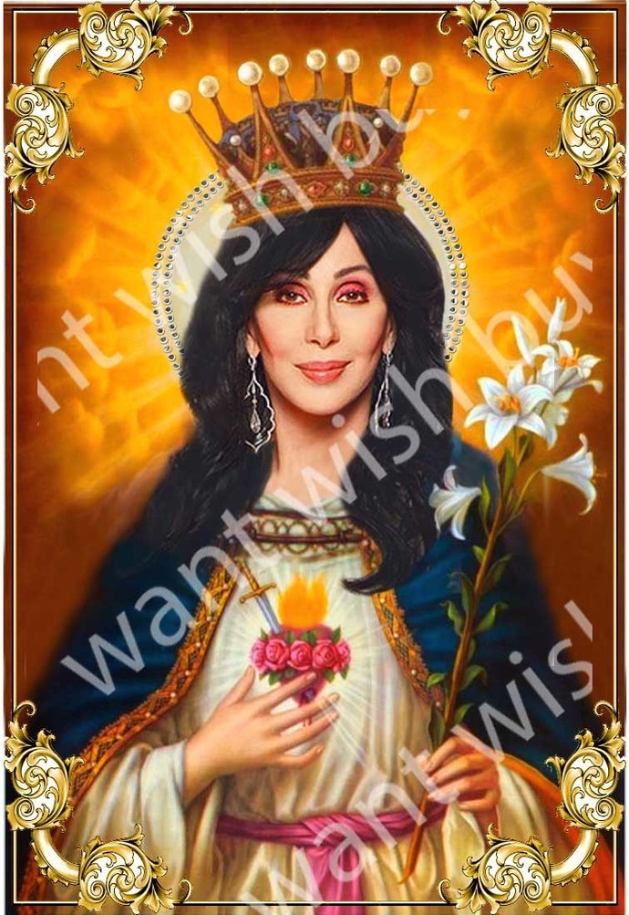 "Cher  - 8"" Celebrity Saint Candle Church Window frame"