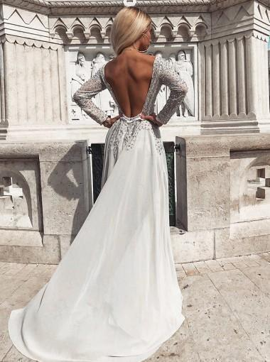 Long Sleeve Chiffon Backless A-Line Beaded Prom Dresses H3652