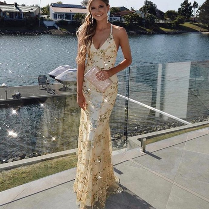 Gold Sequin Mermaid Backless V-Neck Prom Dresses G6950