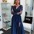 Charming Long Sleeve V-Neck Slit Lace A-line Applique Prom Dresses,C3210