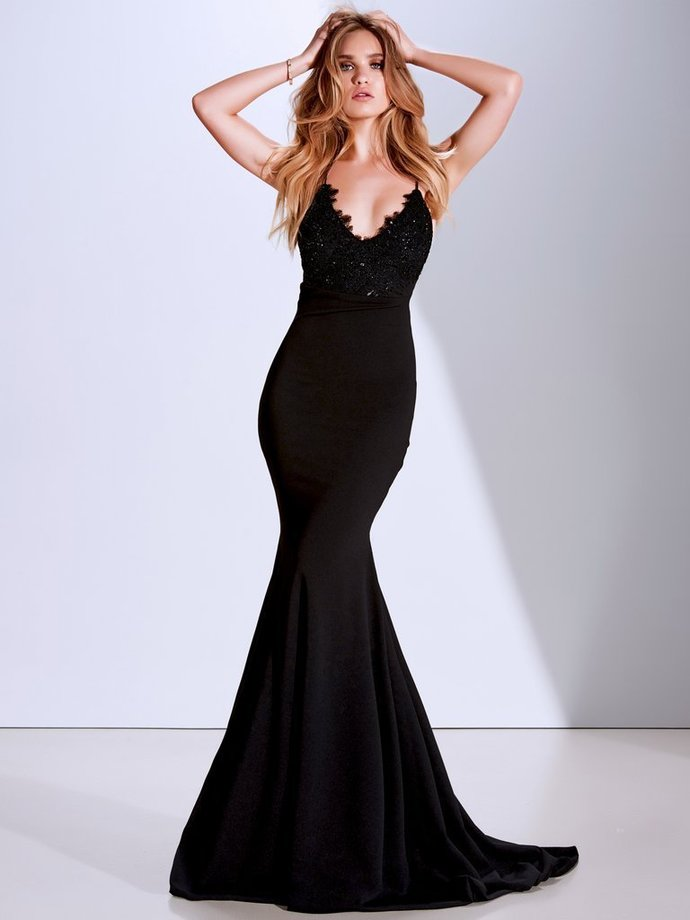 Black Spaghetti Straps Backless Mermaid Lace Beaded Prom Dresses K3684