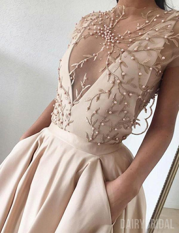 Cap Sleeve A-line Satin Beaded Inexpensive Long Tulle Prom Dresses A3697