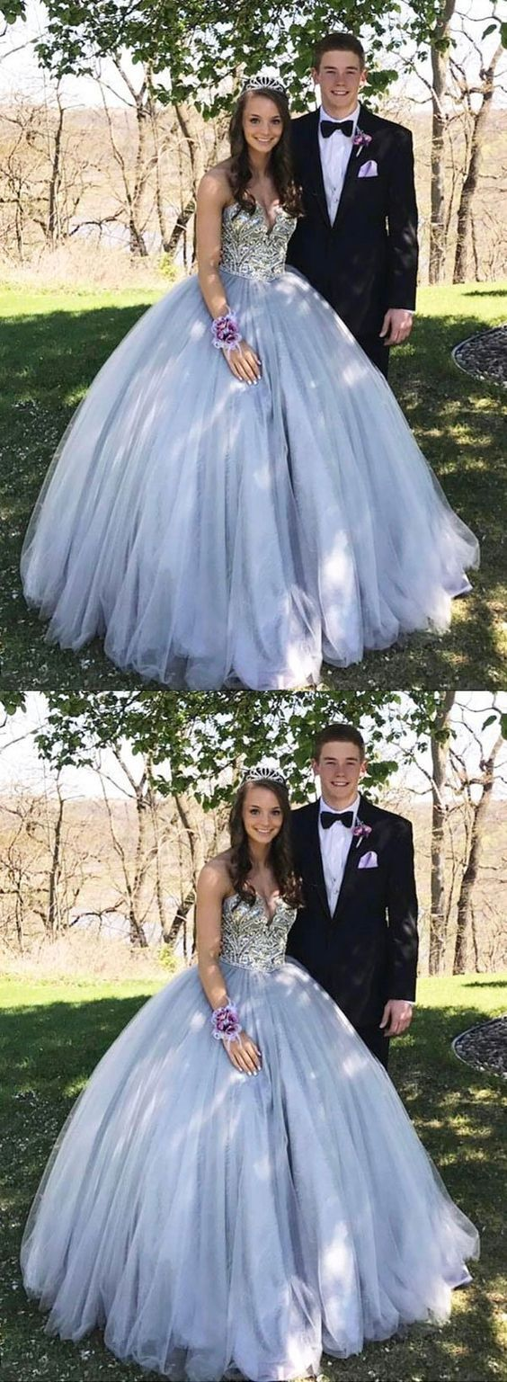 Modern Tulle Crystal Beading Ball Gown Prom Dress, Elegant Quinceanera Dresses