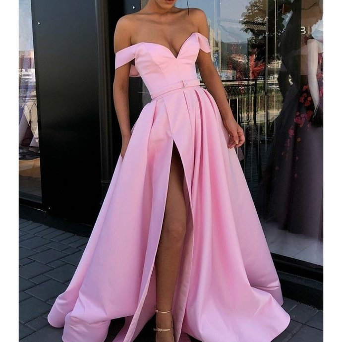 Charming Off Shoulder Backless Satin Long Slit Prom Dresses J2354