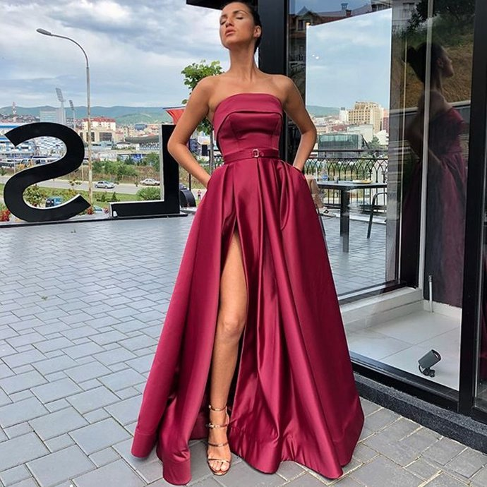Elegant A-line Satin Backless Sexy Slit Long Prom Dresses G36891