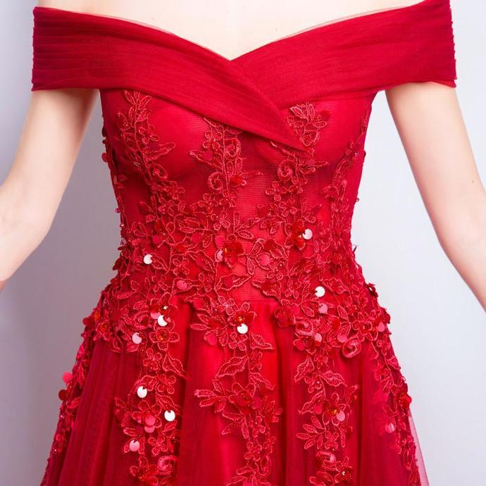 Off the Shoulder Sequin Applique Charming Prom Dresses, Red Beaded A-Line Prom