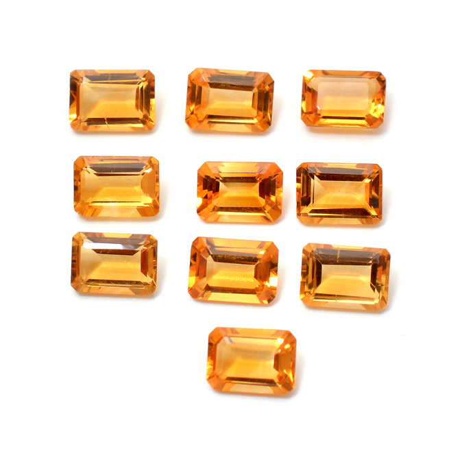 Natural Citrine Faceted Emerald Cut 7 x 5 MM Octagon Flawless  Loose Semi