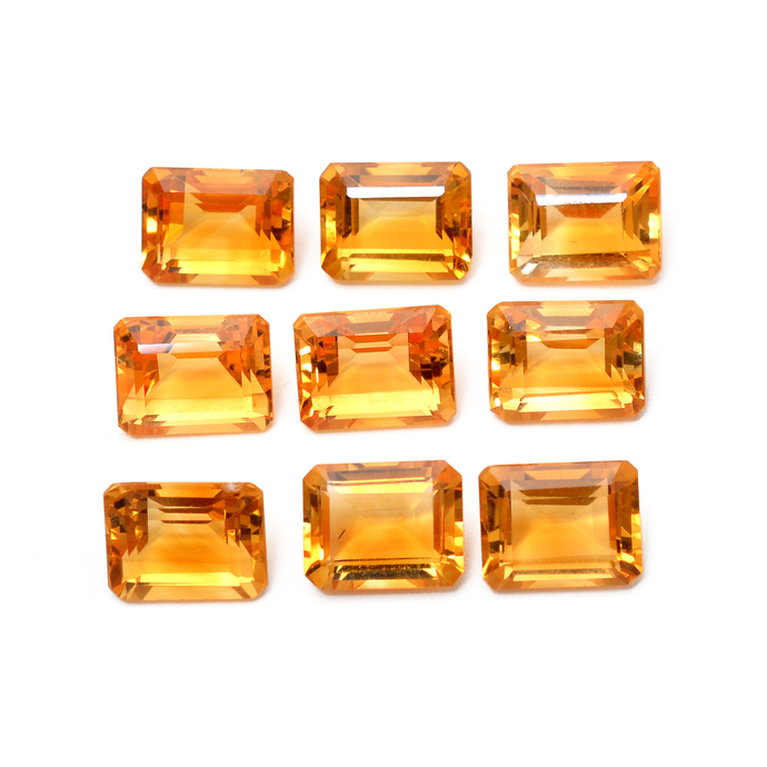 Natural Citrine Faceted Emerald Cut Octagon 9 x 7 MM Flawless Loose Semi