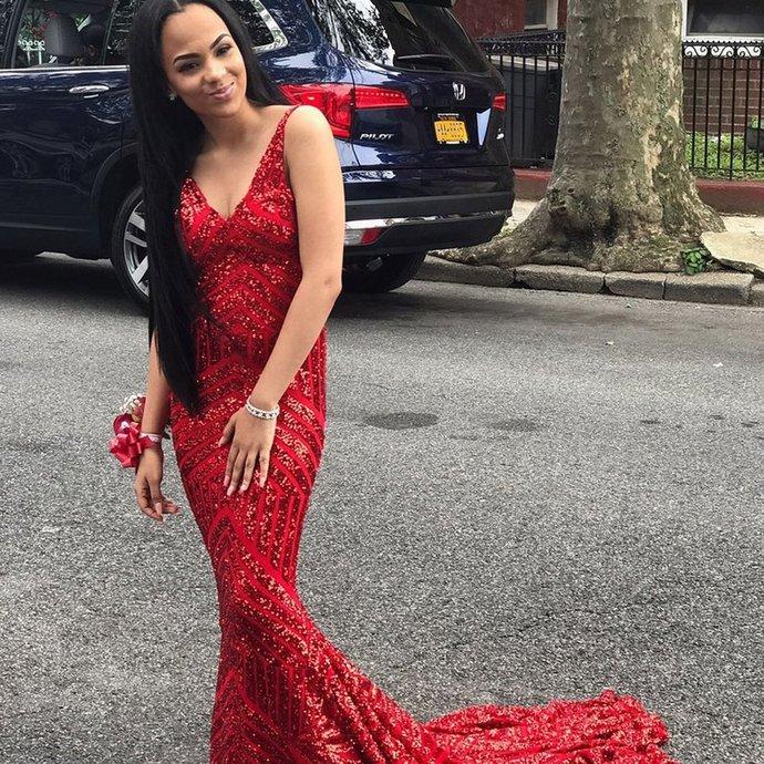 Red Sleeveless V-Neck Sparkle Sequin Mermaid Backless Prom Dresses R3058