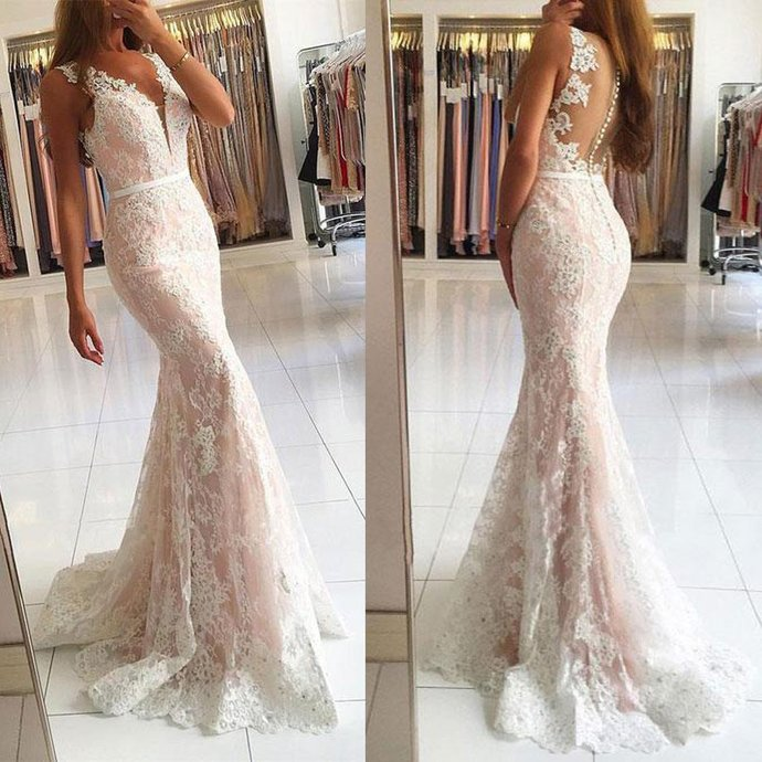 Lace V-Neck Mermaid Prom Dresses, Tulle Applique Prom Dresses L3698