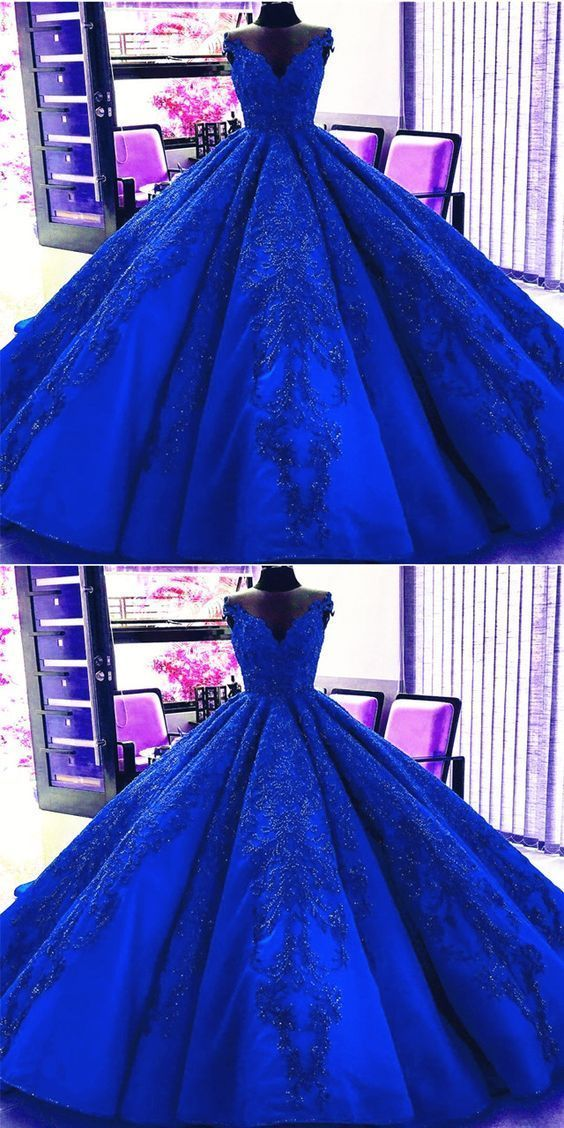 Gorgeous Royal Blue Appliques Beads Quinceanera Dresses, Formal Ball Gown Prom