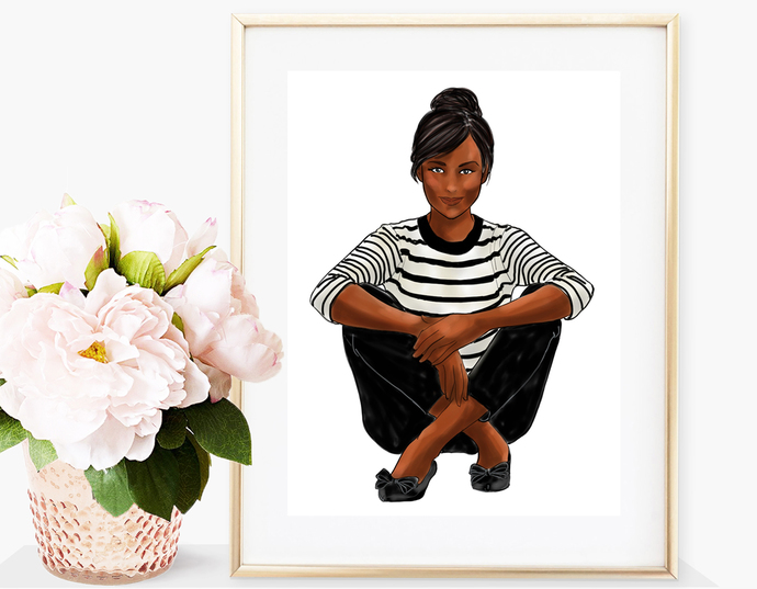 Watercolor fashion illustration - Girls in striped T - Dark Skin