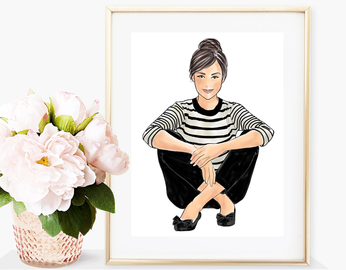 Watercolor fashion illustration - Girls in striped T - Light Skin