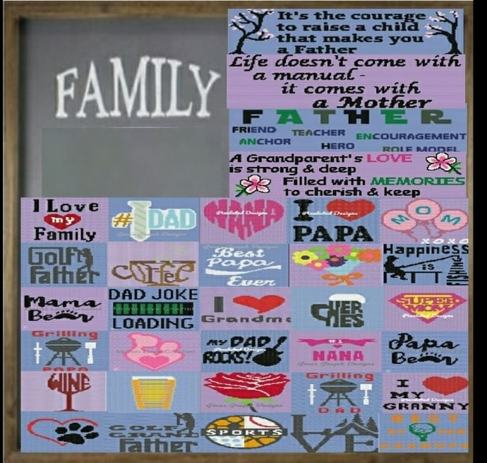 Lobby Bingo Family Bundle includes 34 Patterns - Graphs with written patterns &