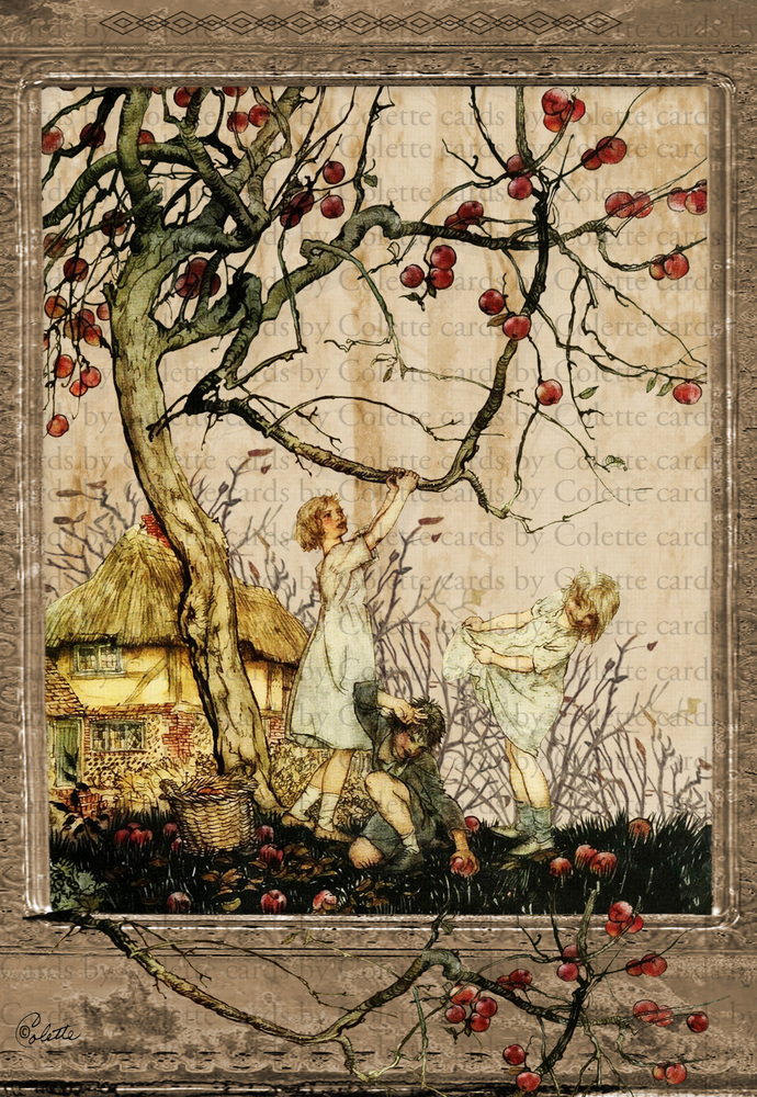 Children and Apple Tree Digital Collage Greeting Card2276