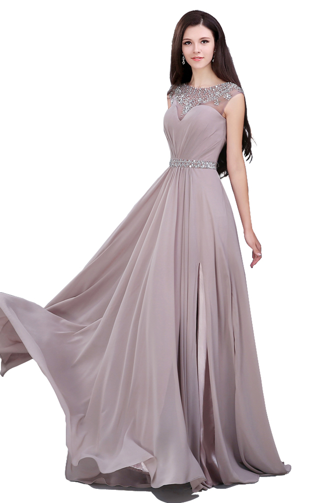 Elegant Beading Sequined Chiffon Straight Prom Dresses,Sashes Pleat Sweep Train