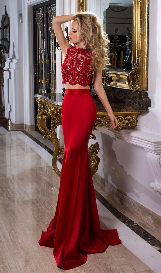 Red Prom Dresses, Fitted Dress, Party Dress, 2 Pieces Prom Dress, Evening Party