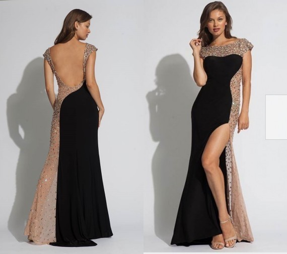 Black Mermaid Prom Dresses, Backless Prom Dress with Rhinestones Beads G8021