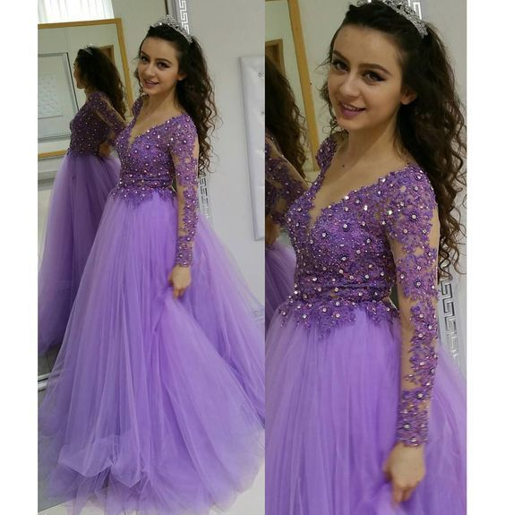 Long Sleeves Lavender Prom Dresses,Formal Occasion Dress, Elegant Formal