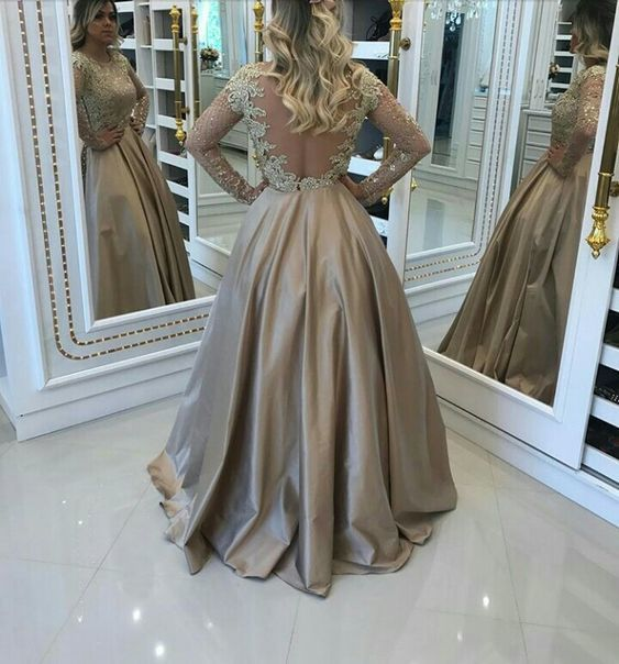 Long Sleeves Prom Dress with Illusion Back ,Prom Dresses G9021