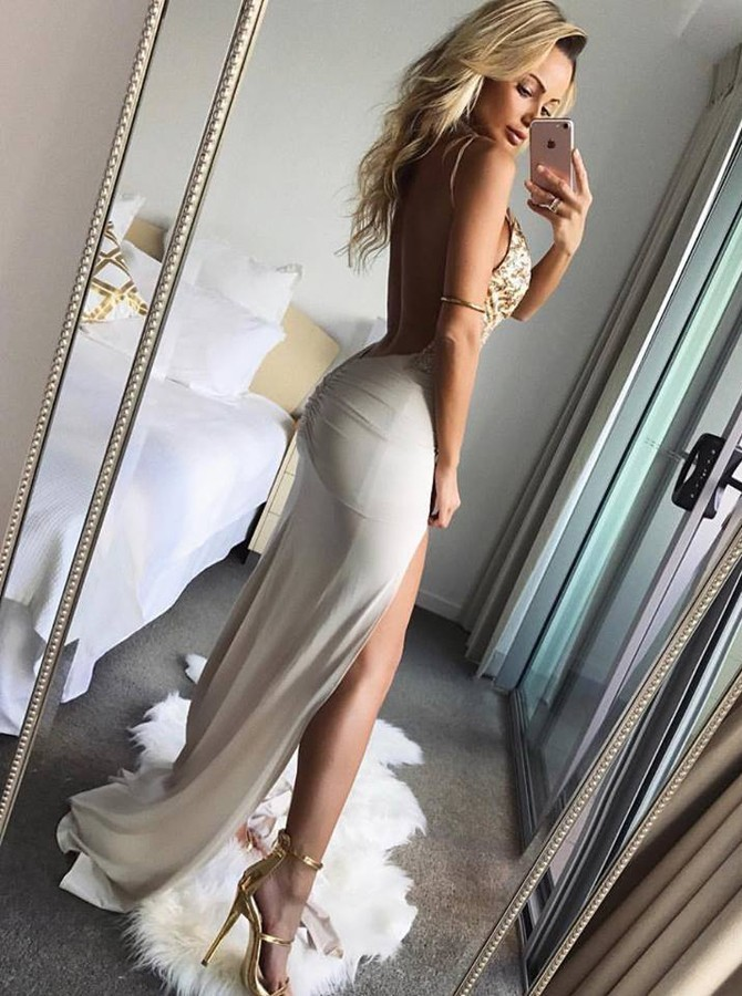 Maxi Prom Dress with Slits,Spaghetti Straps Evening Gown, Floor Length Long Prom