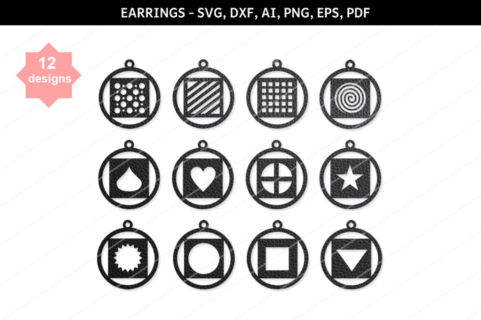 Round earrings SVG,Dangle earrings,Heart earrings,Geometric earrings,Heart