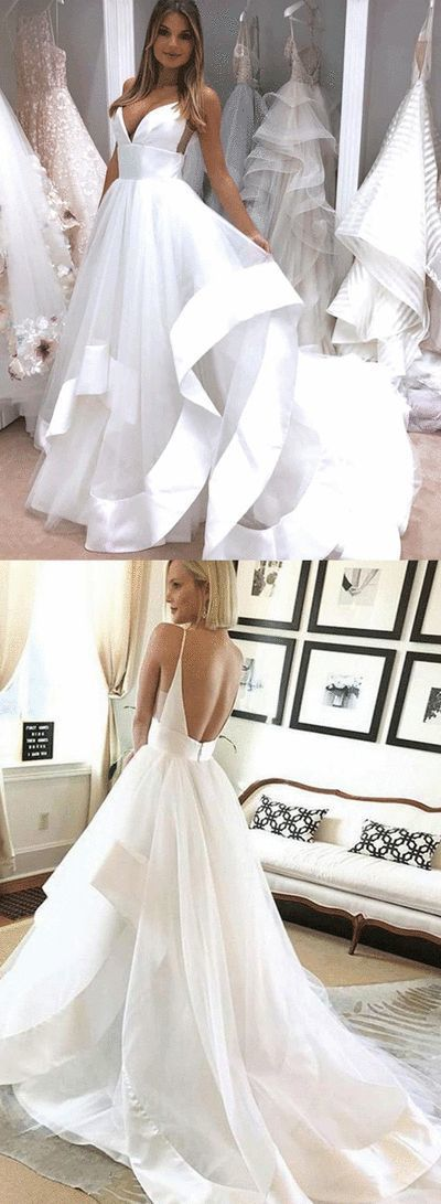 Tulle White Backless A Line Wedding Dress, Sexy Wedding Gown
