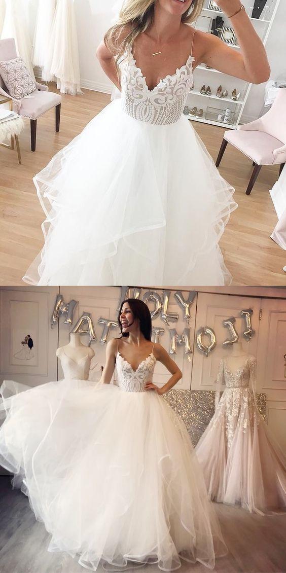 Charming Tulle Straps Appliques White Wedding Dress Vestido de novia