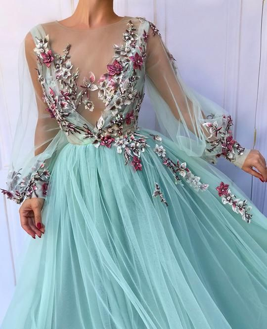 Blue tulle floral embroidered puff sleeve prom dress ,tulle evening dress,party