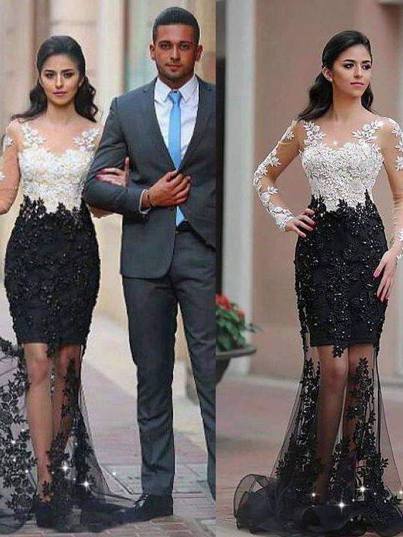 Long Sleeves Prom Dress with Half Lined Skirt, Long Prom Dress,Prom