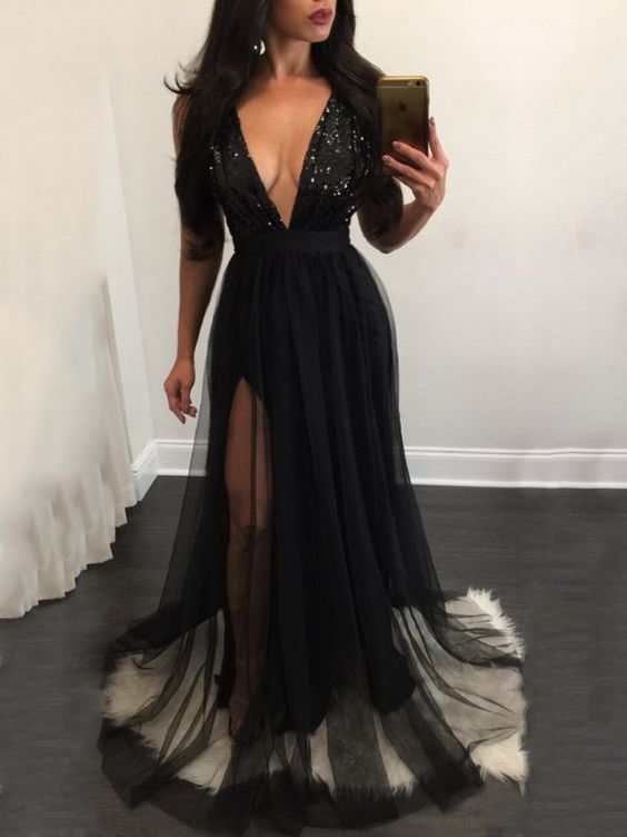 V Neck Prom Dress with Sheer Half Sleeves, Long Prom Dress,Prom Dresses,Evening