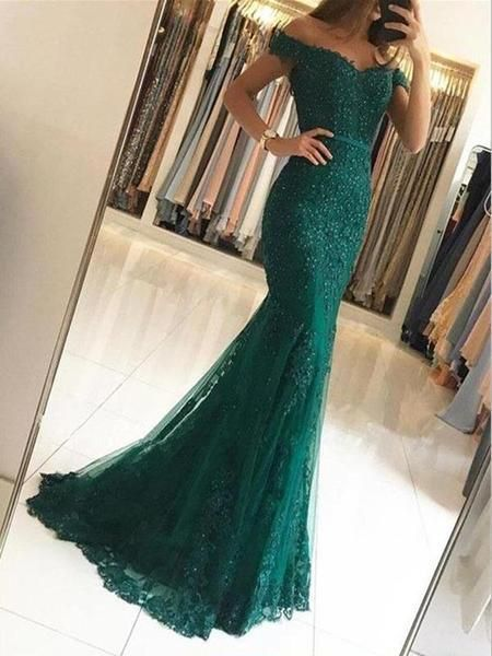 Mermaid Off Shoulder Lace Beaded Long Prom Dresses