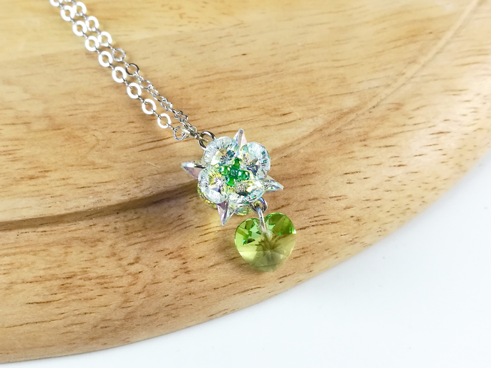Swarovski necklace;crystal necklace; Shining heart pendant necklace by CandyBead