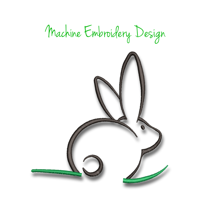 Easter bunny embroidery machine design outline pattern pes