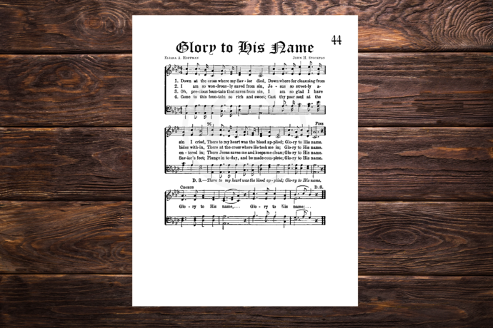 GLORY TO HIS NAME Vintage Verses Printable Sheet Music DIY Wall Art Instant