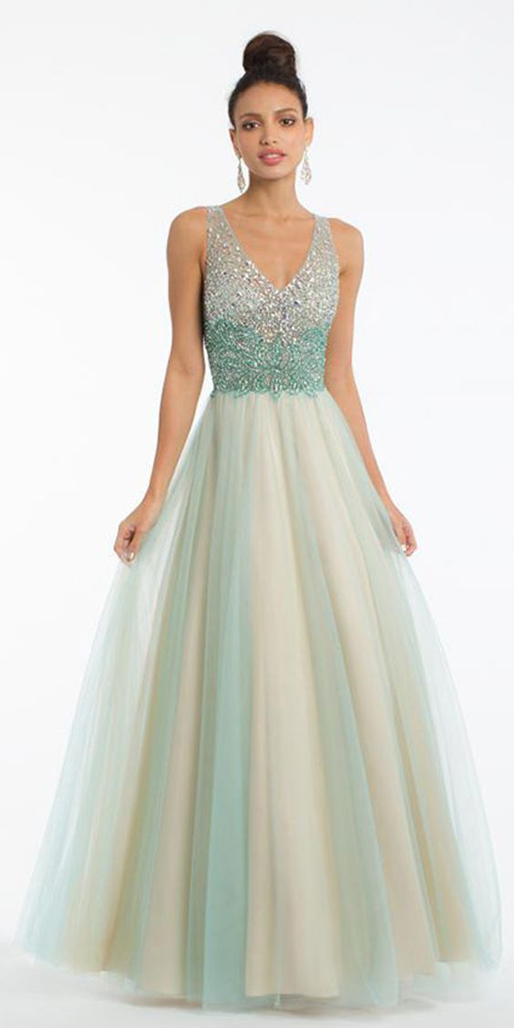 Tulle V-neck Party Dress, A-line Prom Dress With Beading,Custom Made,Party Gown